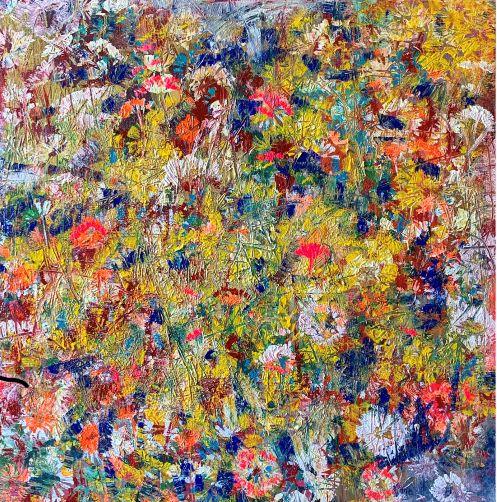 Čistá radosť, 70x70, komb. technika, 2019