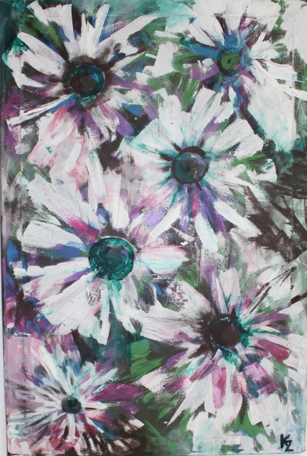 Biele kvety II 60x90, komb. technika, PREDANÝ