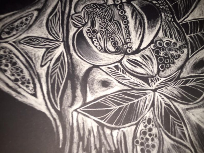 Biele na čiernom I, 30x40, ceruzka, 2016