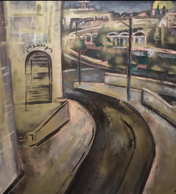 Cesta do Jeruzalema, 90x100, komb. technika, 2016, PREDANÝ
