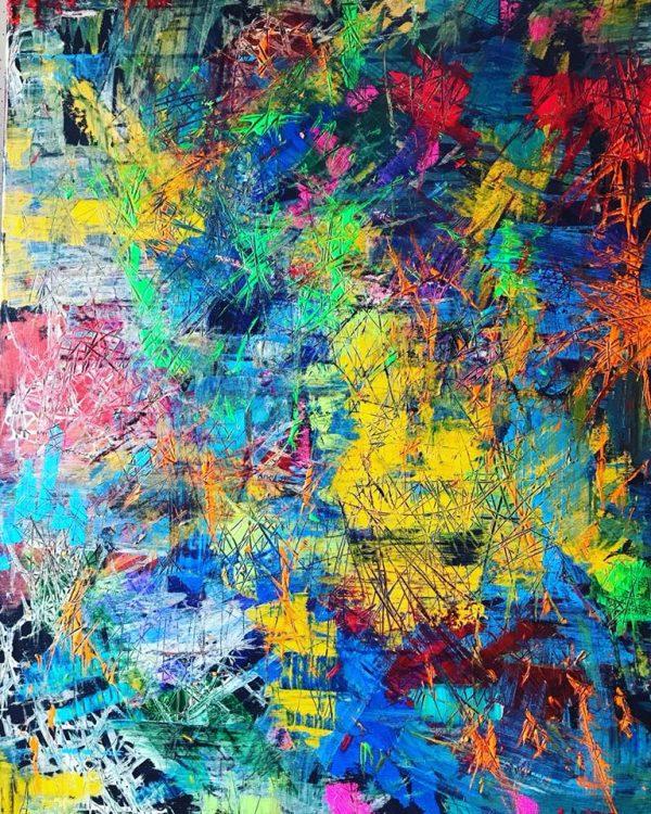 Farebná explózia, 80x90, akryl, 2017, PREDANÝ