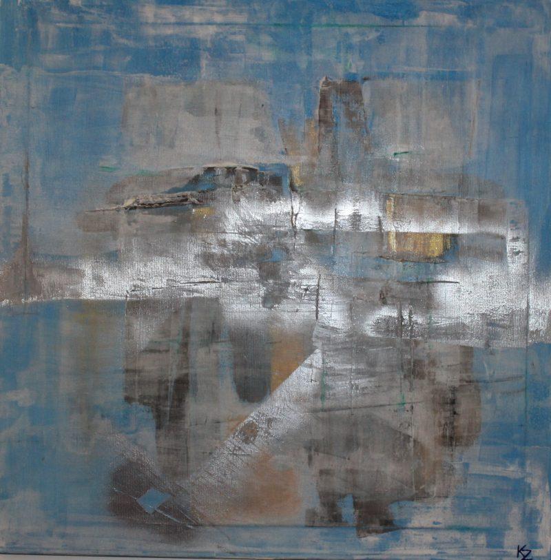 Horizont, 75x75, komb. technika, 2016, PREDANÝ