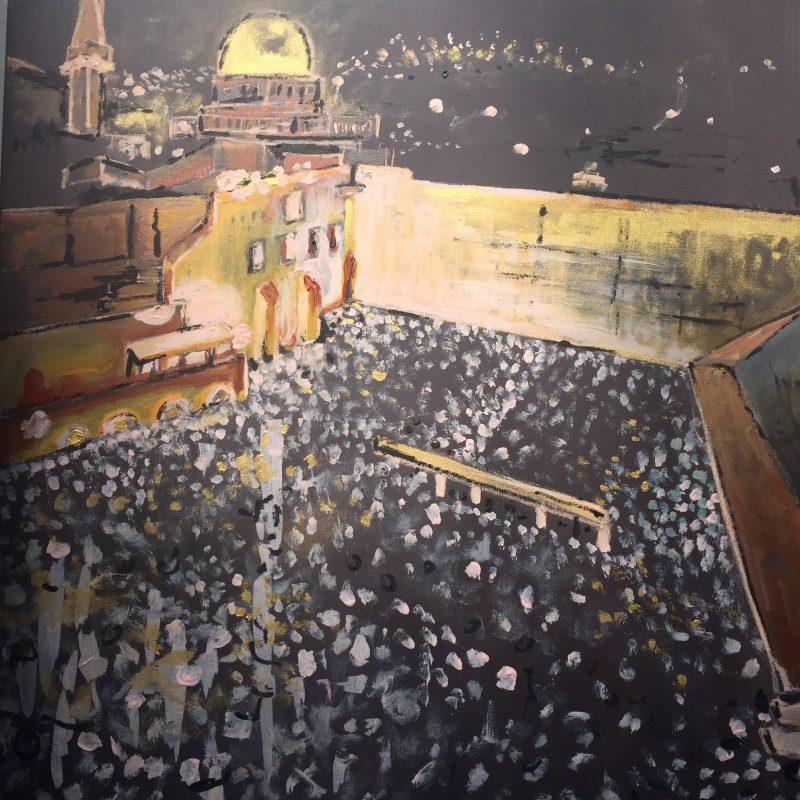 Jeruzalem, 90x100, komb. technika, 2016, PREDANÝ