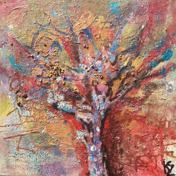 Jesenný strom, 50x50, komb. technika, 2016, PREDANÝ