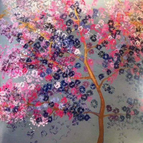 Jinhae kórejská jar, 100x100, akryl, 2019