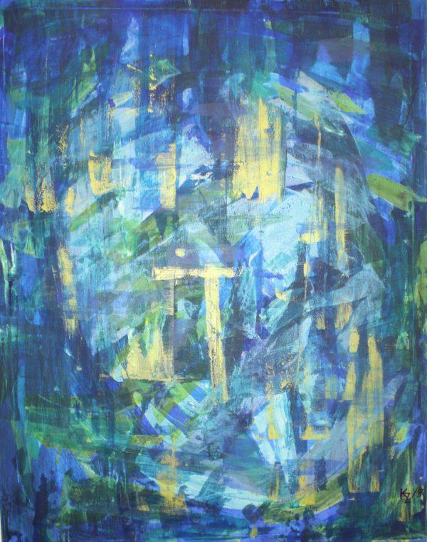 Kompozícia na modrej, 90x70, komb.technika, 2017