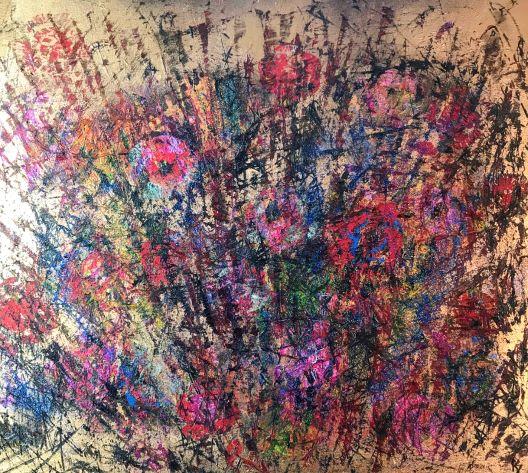 Kvetmi maľované, 80x70, komb. technika, 2018
