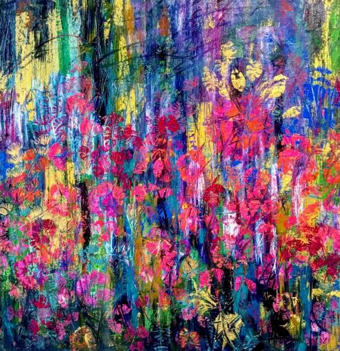 Kvety jesene, 2018, komb. technika, 70x70 PREDANÝ
