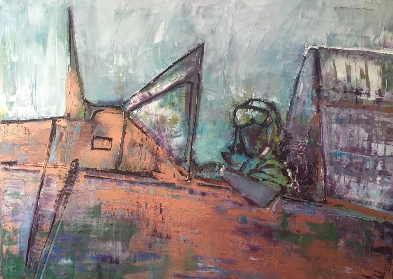 Letec, 80x90, olej, 2017