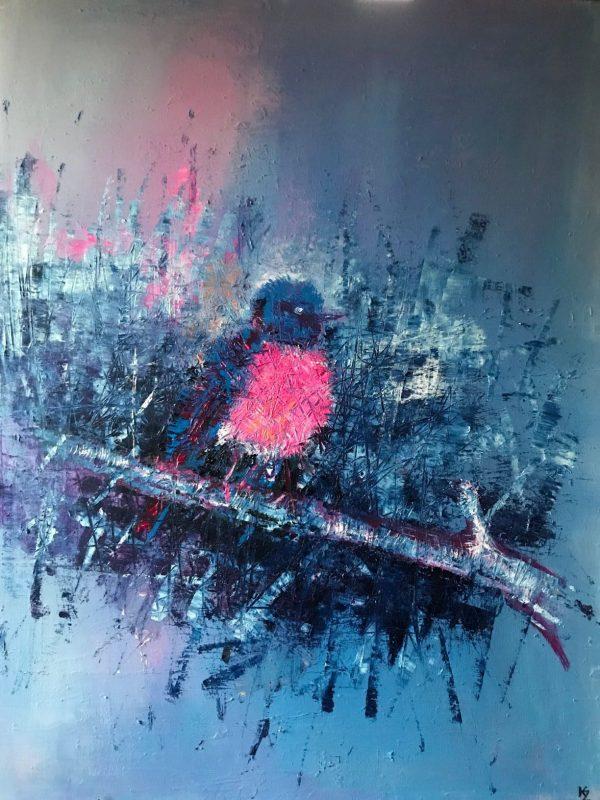 Pink Robin, 2018, 70x80, komb. technika, PREDANÝ