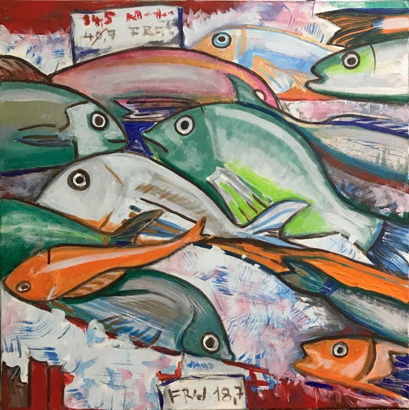 Rybí trh, 60x60, akryl, 2018, PREDANÝ
