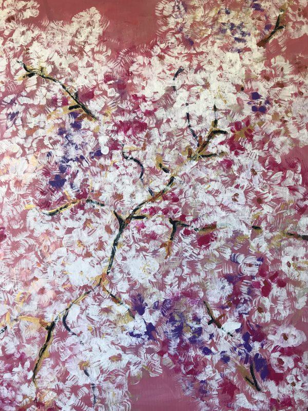 Sakura, 70x80, akryl, hodvábny fixatív, 2018, PREDANÝ