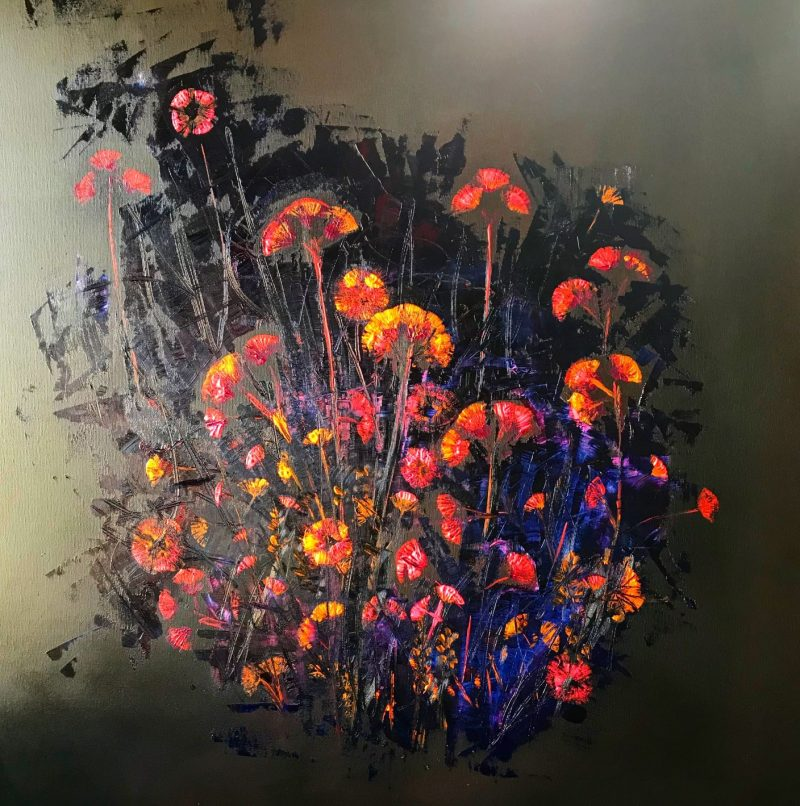 Saténové kvety, 100x100, komb. technika, 2018, PREDANÝ