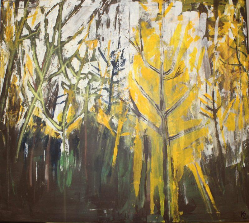 Stromy, 90x100, komb. technika, 2017, PREDANÝ