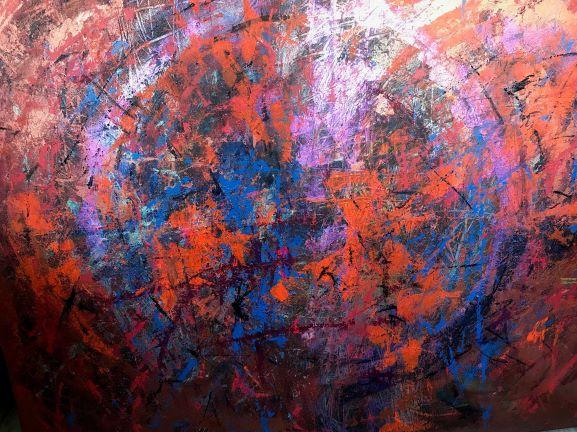 Vášnivá oranžová guľa, 100x120, komb. technika, 2018