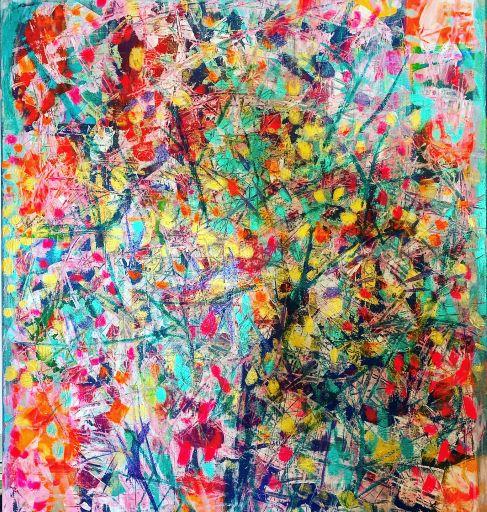 V korune stromu, 70x80, komb. technika, 2019
