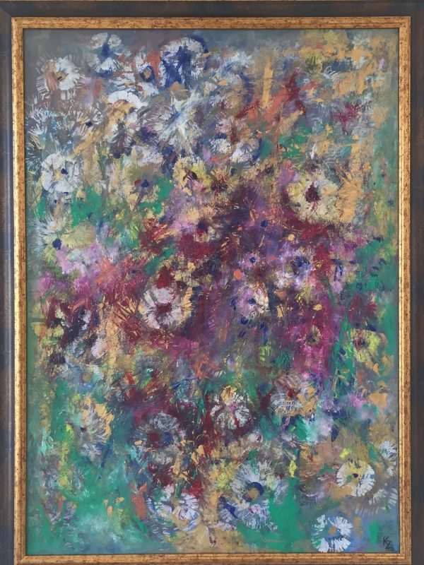Zahalená kvetmi, 70x50, olej, kombinovaná technika, 2018, v ráme, PREDANÝ