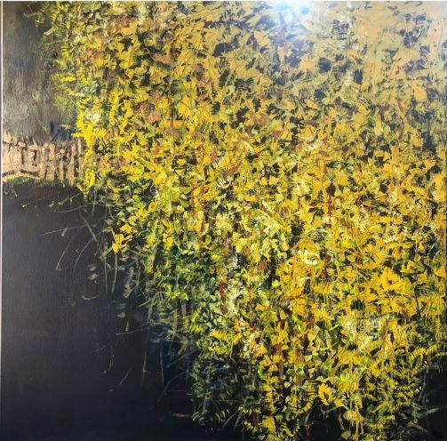 Zlatý dážď, 100x100, akryl, 2019
