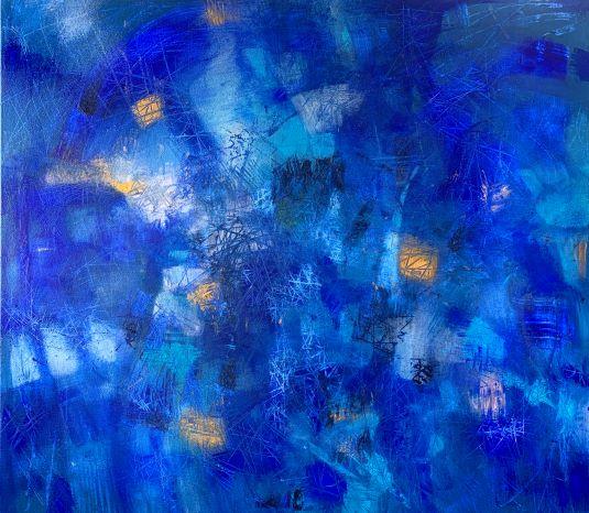 Fantázia v modrom, 80x90, komb. technika, 2020