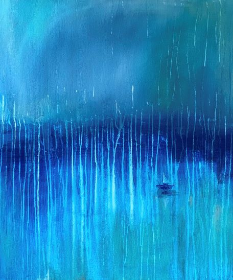 V dažďovej kvapke, 80x70, komb. technika, 2020