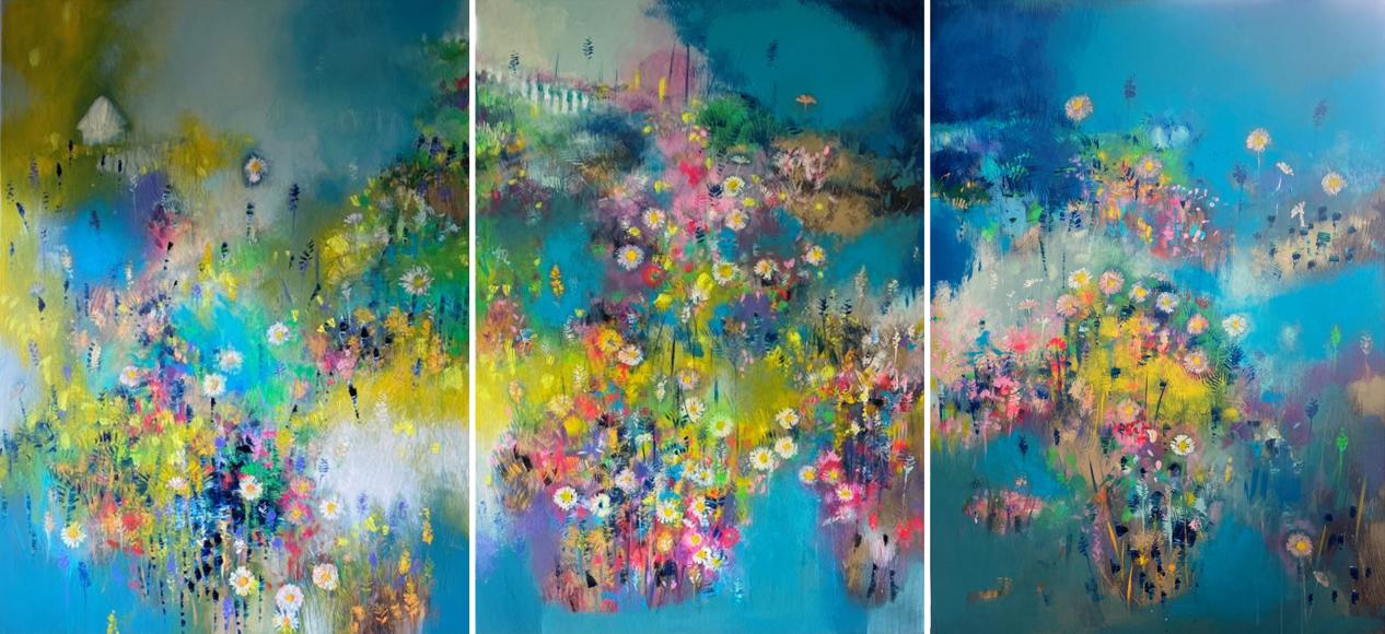 Letný triptych (celok), komb. technika, 140x300, 2021